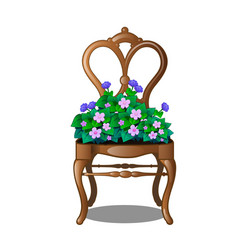 Vintage wooden chair with flowers vector