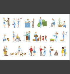 volunteers helping in different situations vector image