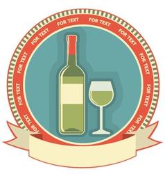 White wine bottle label symbol background vector image
