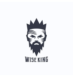 Wise King Abstract Logo Template Bearded vector
