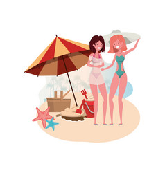 Women with swimsuit on beach and umbrella vector