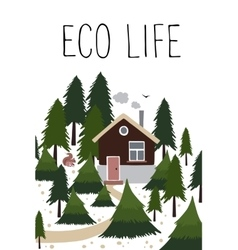 Wooden house in coniferous forest vector