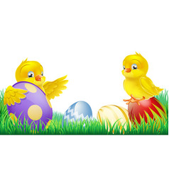cute yellow chicks and easter eggs vector image vector image