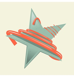 Green Retro Paper Star with Red Strip - Ribbon vector image vector image