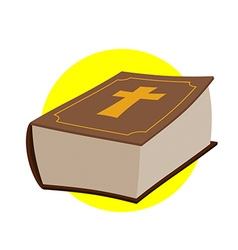 Holy Bible Thick old book with a cross Old and New vector image