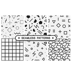 seamless patterns set - memphis design vector image vector image