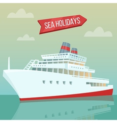 Travel Banner Sea Holidays Passenger Ship Cruise vector image vector image