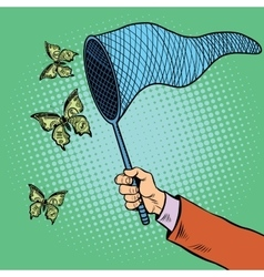Businessman catching money with a butterfly net vector image