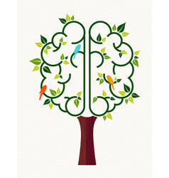human brain tree for green ecology help concept vector image vector image