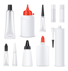 realistic blank glue tubes set vector image