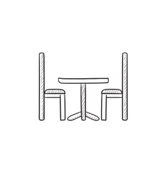 Table and chairs sketch icon vector image