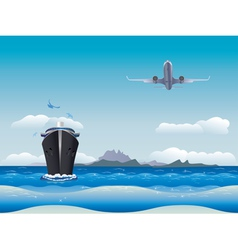 Airplane and Ship vector image vector image