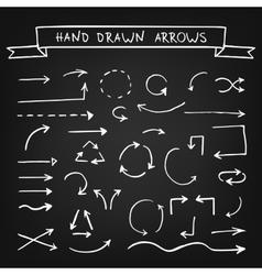 Chalk hand drawn arrows vector image