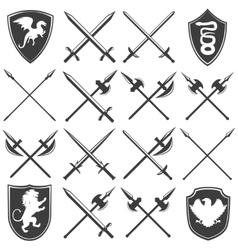 Heraldic Armory Graphic Icons Set vector image