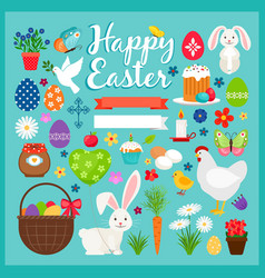 easter colored icons vector image