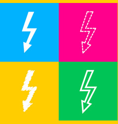high voltage danger sign four styles of icon on vector image