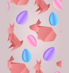 seamless texture with paper origami rabbits and vector image