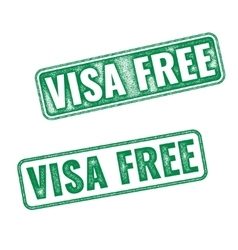 Visa free green textured rubber stamp vector