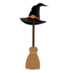 With hat and broomstick icons vector image vector image