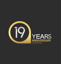 19 years anniversary celebration simple design vector