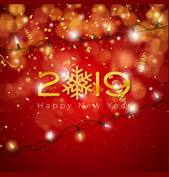 2019 happy new year with shiny gold vector image