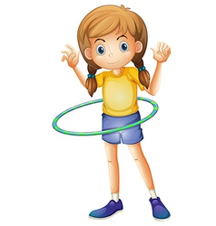 A young girl playing with the hulahoop vector