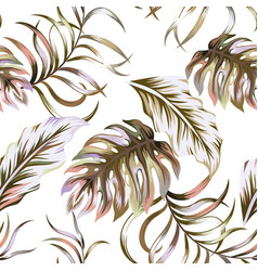 Abstract color leaves seamless pattern white vector