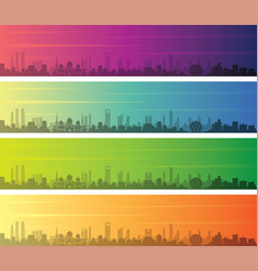 Abu dhabi multiple color gradient skyline banner vector