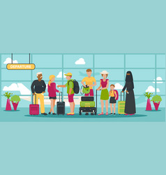 airport traveling people waiting flight vector image