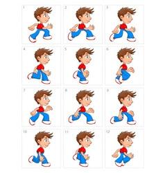 Animation of running boy twelve frames vector