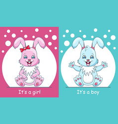 bashower greeting card with rabbits boy and vector image