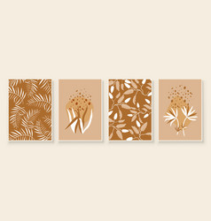 beige abstract botanical organic art vector image