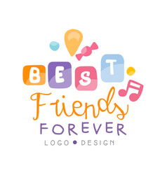 Best friends forever logo design happy friendship vector