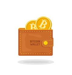 bitcoin wallet with golden coins with b symbol vector image