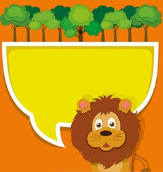 Border design with lion and forest vector