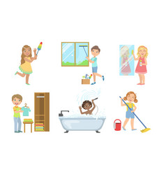 Boys and girls doing different doing housework set vector