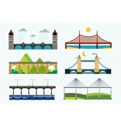 Bridge silhouette set vector image