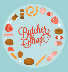 Butchery product icon such as sausage vector