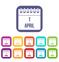 Calendar april 1 icons set vector