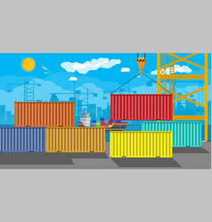 Cargo ship container crane port logistics vector