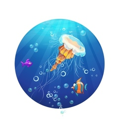 cartoon image a jellyfish and sea fish vector image