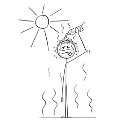 Cartoon of man in hot summer pouring water from vector