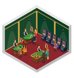 casino isometric interior composition vector image