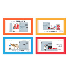 characters manufacturing meat production landing vector image