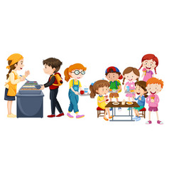 children eating at cafeteria vector image