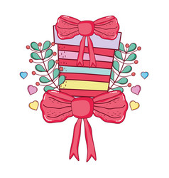 christmas gift box with wreath and ribbon vector image