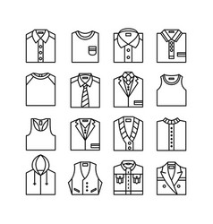 clothes line art tops icons editable stroke vector image