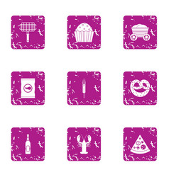 Cookout icons set grunge style vector