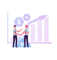 couple businessmen shaking hands near growing vector image