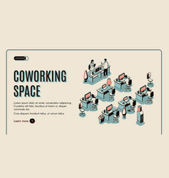 coworking space isometric landing page teamwork vector image